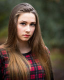 Portrait of a Beautiful Dark Blond Teenage Girl in a Forest Royalty Free Stock Photos