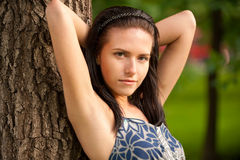 Portrait of beautiful dark-haired girl. Royalty Free Stock Photos