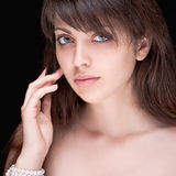 Portrait of beautiful dark-haired girl Stock Photo