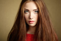 Portrait of beautiful dark-haired woman Royalty Free Stock Images