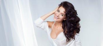 Portrait of beautiful delicate brunette beauty Royalty Free Stock Photo