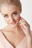Portrait of a beautiful delicate sensual young blonde woman with Royalty Free Stock Image