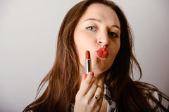 portrait of beautiful delicate woman red lipstick Royalty Free Stock Photo