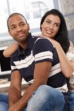 Portrait of beautiful diverse couple at home Royalty Free Stock Image
