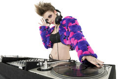 Portrait of beautiful DJ over white background stock photography