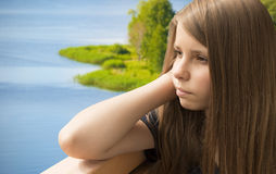 Portrait of a beautiful dreaming teenager girl Royalty Free Stock Photos