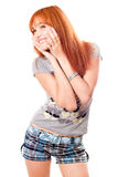 Portrait of beautiful dreamy red-haired girl Royalty Free Stock Photos