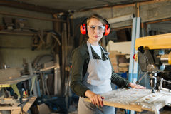 Portrait of beautiful drill press operator Stock Images