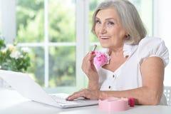 Portrait of beautiful elderly woman Royalty Free Stock Photos