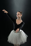 Portrait Of Beautiful Elegant Ballerina On Black Background Stock Images