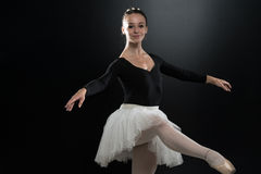 Portrait Of Beautiful Elegant Ballerina On Black Background Royalty Free Stock Images