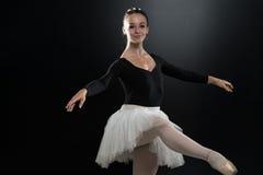 Portrait Of Beautiful Elegant Ballerina On Black Background Royalty Free Stock Images