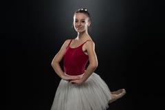 Portrait Of Beautiful Elegant Ballerina On Black Background Stock Images