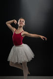 Portrait Of Beautiful Elegant Ballerina On Black Background Royalty Free Stock Photos