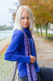 Portrait of beautiful elegant blonde woman autumn outdoor Royalty Free Stock Photography