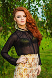 Portrait of a beautiful elegant woman with red hair, beautiful makeup and hair is in Pak. Portrait of a beautiful elegant woman with red hair, beautiful makeup Stock Images
