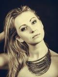 Portrait of beautiful elegant woman in sepia Royalty Free Stock Photos