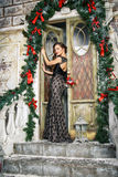 Portrait of beautiful elegant young woman in gorgeous evening dress over christmas background Royalty Free Stock Photography