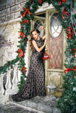 Portrait of beautiful elegant young woman in gorgeous evening dress over christmas background Royalty Free Stock Photo