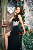 Portrait of beautiful elegant young woman in gorgeous evening dress over christmas background Stock Photos