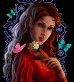 Portrait of a beautiful elf with rose royalty free illustration