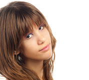Portrait of the beautiful enigmatic teenage girl. Portrait of the beautiful teenage girl with enigmatic look on her face Royalty Free Stock Photos