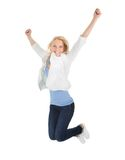 Portrait of beautiful excited young woman Stock Photo