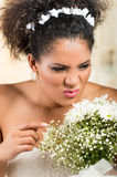 Portrait of beautiful exotic emotional bride Stock Photos