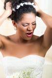 Portrait of beautiful exotic emotional bride Royalty Free Stock Photo