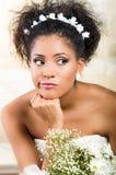 Portrait of beautiful exotic emotional bride Stock Photos