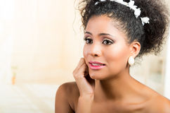 Portrait of beautiful exotic emotional bride Royalty Free Stock Images