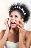 Portrait of beautiful exotic emotional bride Stock Photo