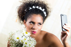 Portrait of beautiful exotic emotional bride Royalty Free Stock Image