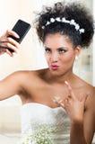 Portrait of beautiful exotic emotional bride Stock Image