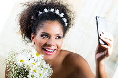 Portrait of beautiful exotic emotional bride Stock Photography