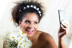 Portrait of beautiful exotic emotional bride Stock Photography