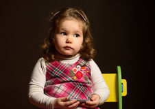 Portrait of a beautiful expresive little girl Stock Photos