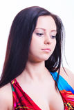 Beauty long hair brunette with decollete Stock Images