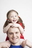 Portrait of beautiful family: father and daughter Stock Photos