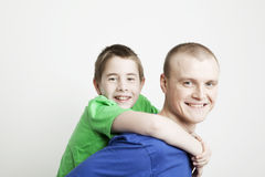 Portrait of beautiful family: father and son Stock Photos