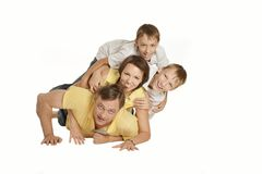 Portrait of a beautiful family in the room Royalty Free Stock Photography
