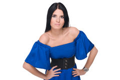 Portrait of beautiful fashion woman in blue Royalty Free Stock Image