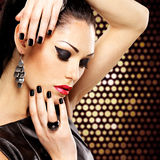 Portrait of a beautiful  fashion woman with  bright makeup. Royalty Free Stock Photos