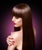 Portrait of beautiful fashion woman with long healthy brown hair Stock Images