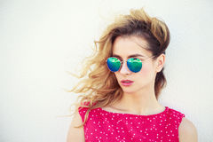 Portrait of Beautiful Fashion Woman in Sunglasses Stock Photography