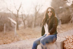 Portrait of beautiful fashion woman wearing sunglasses Royalty Free Stock Images