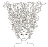 Portrait of beautiful fashion women with abstract wavy hair. Portrait of beautiful fashion women with abstract wavy hair be used for coloring book for adults royalty free illustration