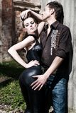 Portrait of beautiful fashion young woman and man Royalty Free Stock Photos