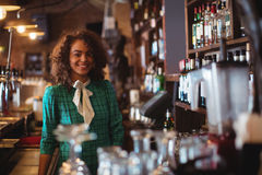 Portrait of beautiful female bar tender Royalty Free Stock Photos