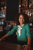 Portrait of beautiful female bar tender Royalty Free Stock Images